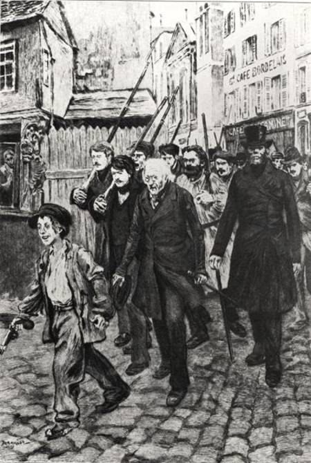 Gavroche Leading a Demonstration, illustration from 'Les Miserables' by Victor Hugo (oil on canvas) (b/w photo) by Jeanniot, Pierre Georges (1848-1934) oil on canvas Bibliotheque Nationale, Paris, France Lauros / Giraudon French, out of copyright