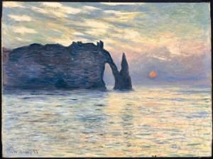 falaises d'etretat, soilel couchant 1883